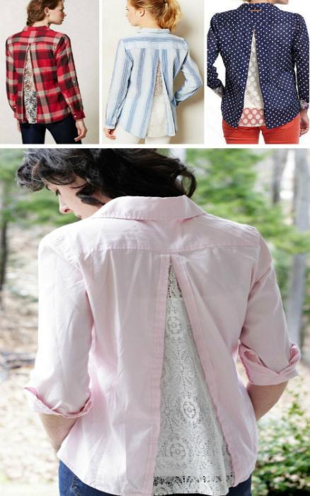 Рубашки с кружевными вставками на спине.