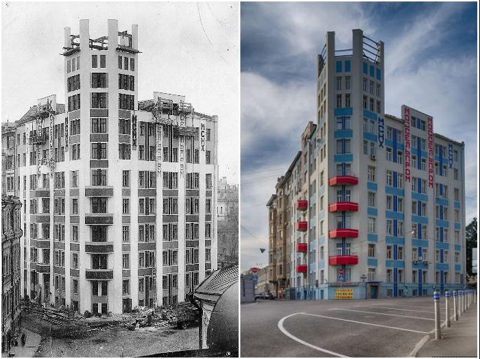 Первый советский небоскреб (Дом Моссельпрома, Калашный переулок №2/10). | Фото: progulkipomoskve.ru/ moscow.zagranitsa.com.