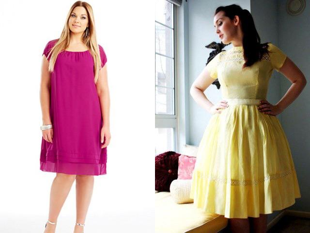 Модные однотонные платья для полных