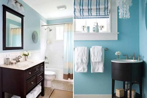 Уютный интерьер голубой ванной комнаты