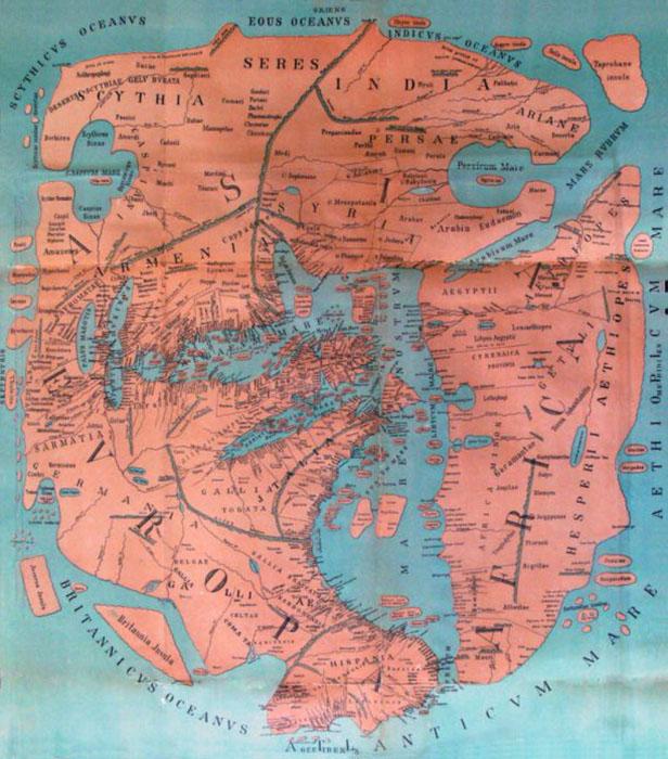 Воссозданная современными исследователями карта Помпония Мелы