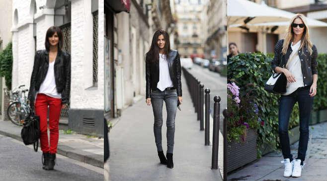 Сочетание кожаной куртки с джинсами