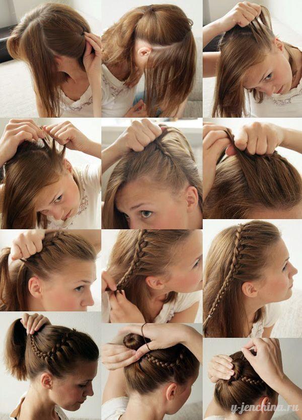 Красивая и быстрая прическа на средние волосы