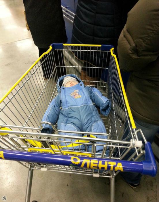Утомленный шопингом.