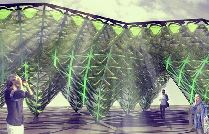 Технологии будущего: био-цифровой навес для генерации кислорода.