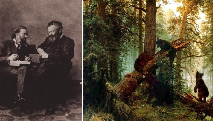 К. А. Савицкий и И. И. Шишкин. Начало 1880-х гг. Фото. / «Утро в сосновом лесу».