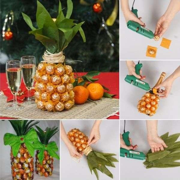Как украсить бутылку шампанского конфетами - пошагово с фото