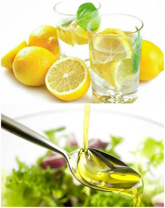 Стакан воды и ложка оливкового масла.