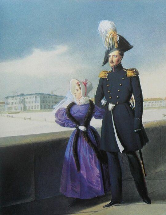 Царь Николай I и его дочь Мария Николаевна во время прогулки по Дворцовой набережной. / Фото: www.aria-art.ru