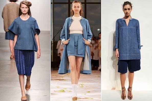 Джинс - тентенденции весна 2015, на фото модели J.Crew, Eckhaus Latta  и A Detacher