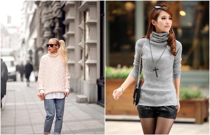 Самые модные - свитера в стиле оверсайз и облегающие модели с воротником