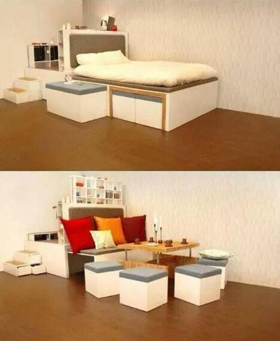 Кровать, которая превращается в обеденный уголок.