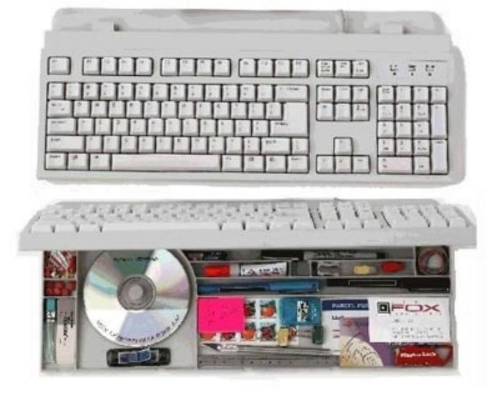 Компьютерная клавиатура с потайным отделением.