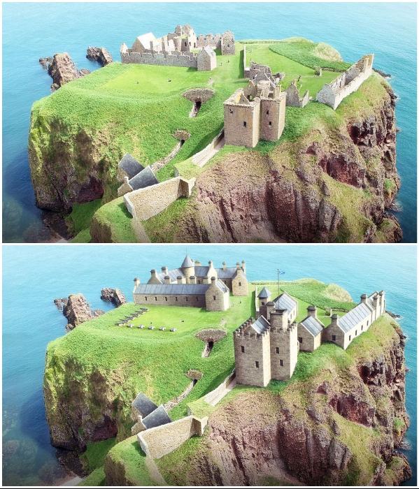 Руины и цифровая реконструкция замка-крепости Dunnottar Castle (Шотландия). | Фото: boredpanda.com/ © budgetdirect.