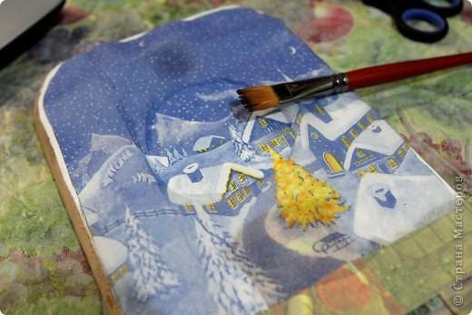 Декор предметов, Мастер-класс Декупаж: как соединить 2 салфетки м\к Салфетки Новый год. Фото 15