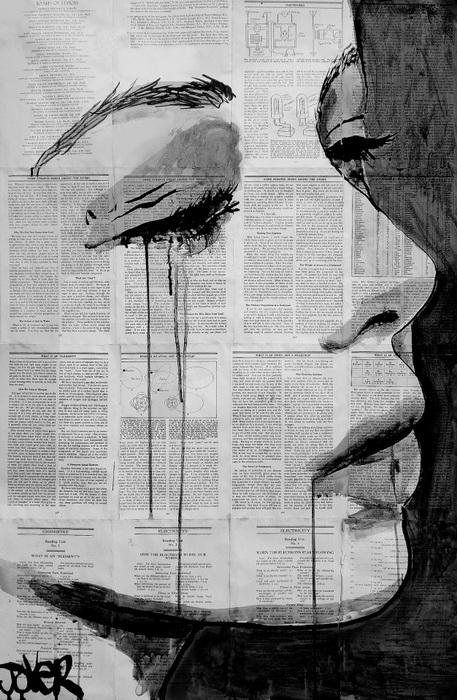 Винтажные рисунки Лоуи Джовера: чернила на страницах старых книг