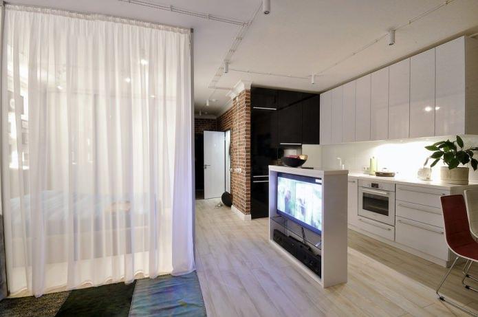 телевизор в интерьере квартиры-студии