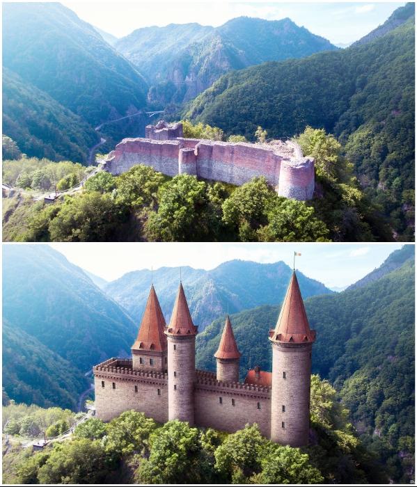 Развалины и цифровая реконструкция замка Поенари, принадлежащего графу Владу III Цепешу (Дракуле). | Фото: boredpanda.com/ © budgetdirect.