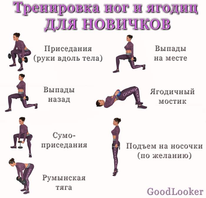 Тренировка ног и ягодиц для новичков
