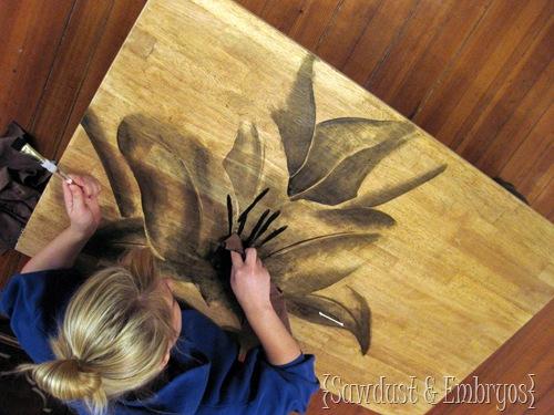 Использование древесины пятно, чтобы сделать художественное произведение!  {Опилки и эмбрионов}