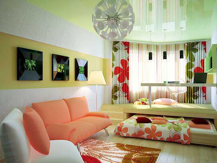Зонирование гостиной с помощью подиумов