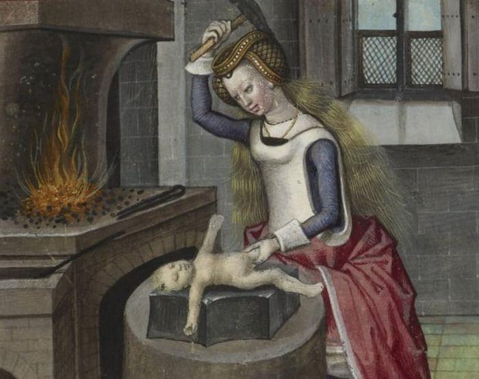 Иллюстрация «Природа ковки ребенка» к «Роману о розе» Гильома де Лорриса.