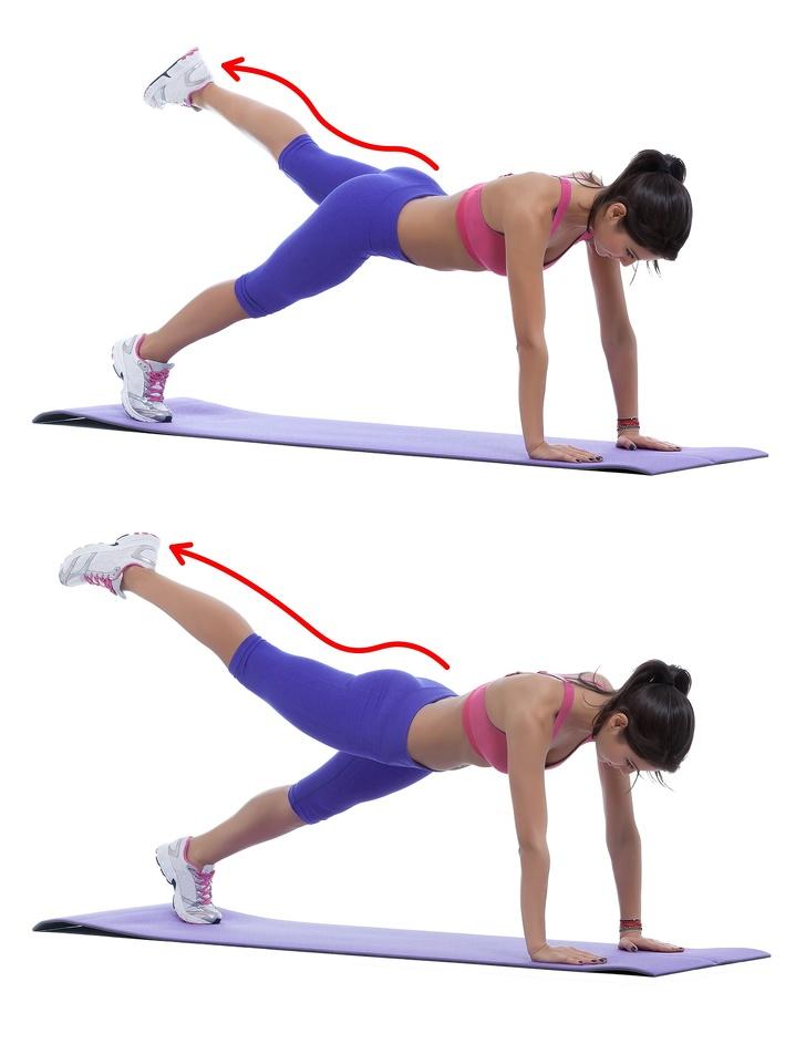 Планка с диагональным подъемом ног