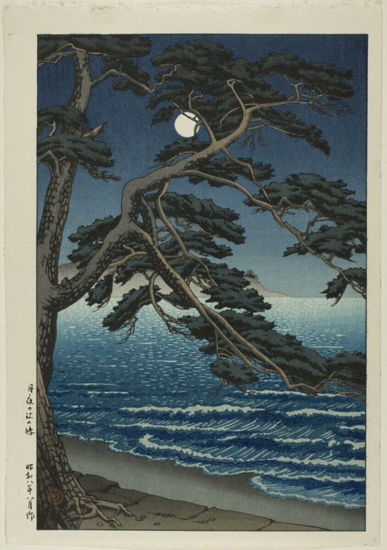 """Хасуи Кавасэ. """"Лунный свет над пляжем Эносима""""  1933г."""