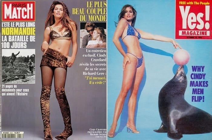 Синди Кроуфорд на обложках журналов 1994 г. | Фото: hellomagazine.com