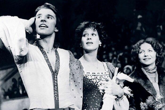 Ирина Моисеева и Андрей Миненков с хореографом Еленой Матвеевой. / Фото: www.liveinternet.ru