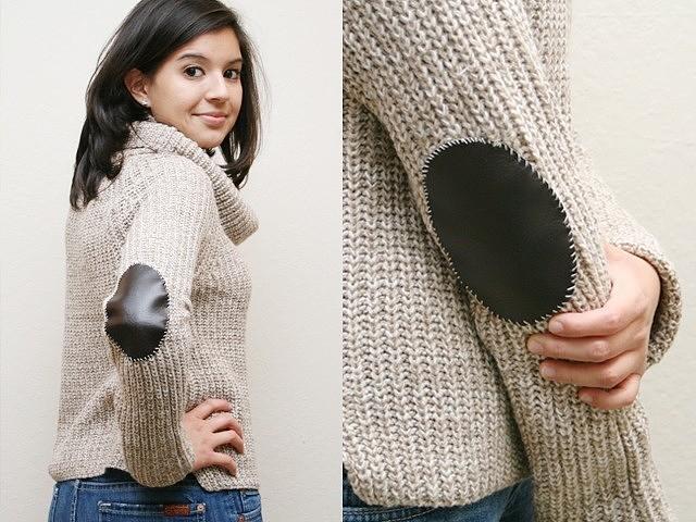 Заплатки на локти для свитера или кардигана: 9 идей с инструкциями