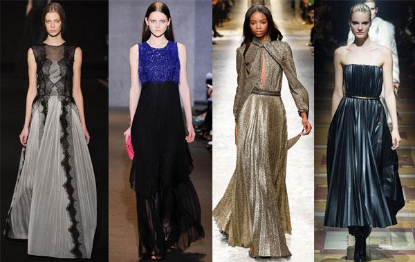 Модные вечерние платья с плиссировкой осень-зима 2014/2015
