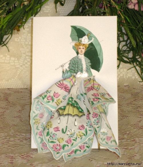 Авторские открытки из платочков
