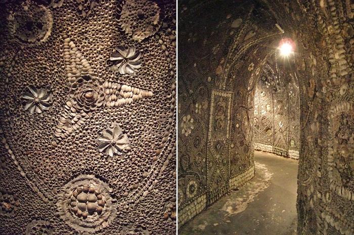 Под землей обнаружены прекрасные мозаики, выложенные из множества тысяч морских раковин (Margate Shell Grotto).