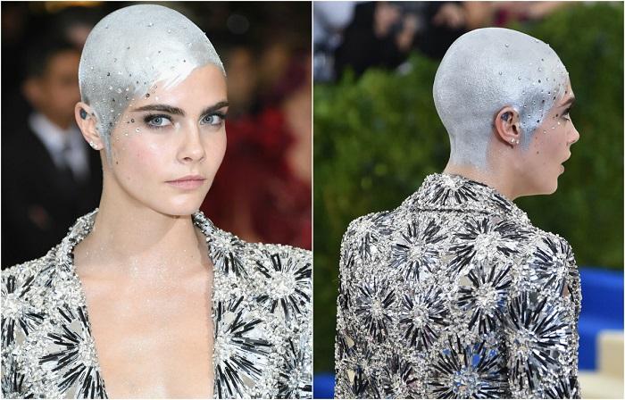 Странная «прическа» актрисы состоит из серебристой краски и кристаллов Swarovski.