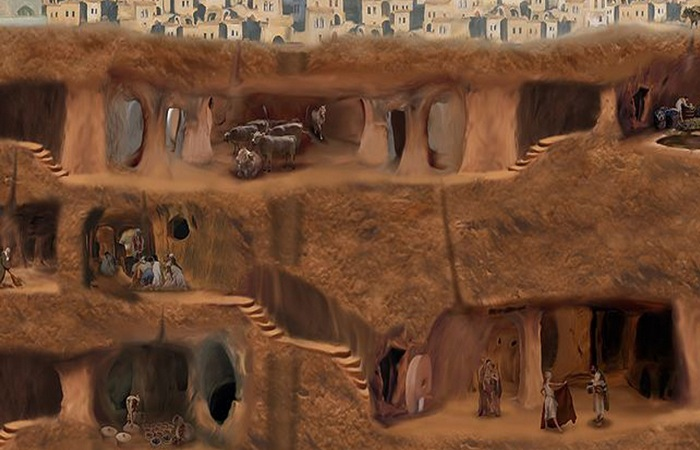 Подземный город Деринкую в Турции.