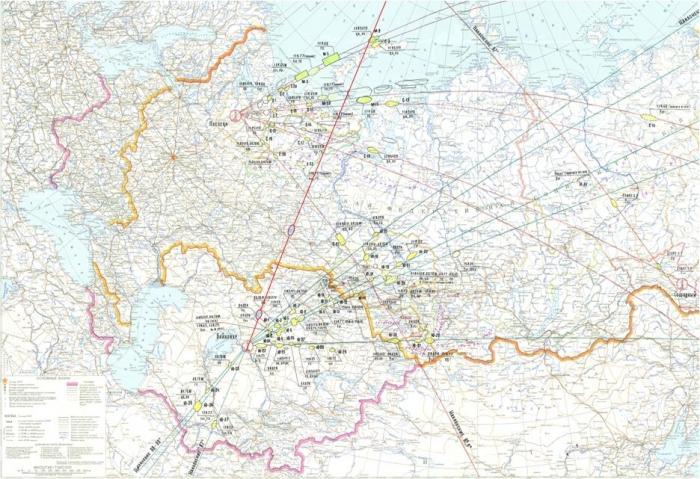План-схема траекторий космических пусков