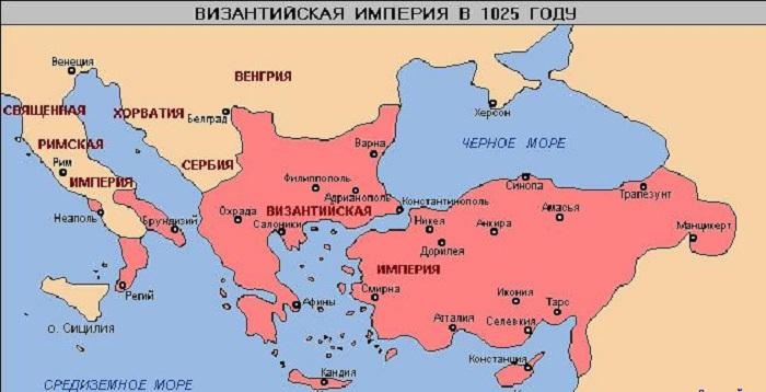 Византия на карте в период расцвета 1025 год