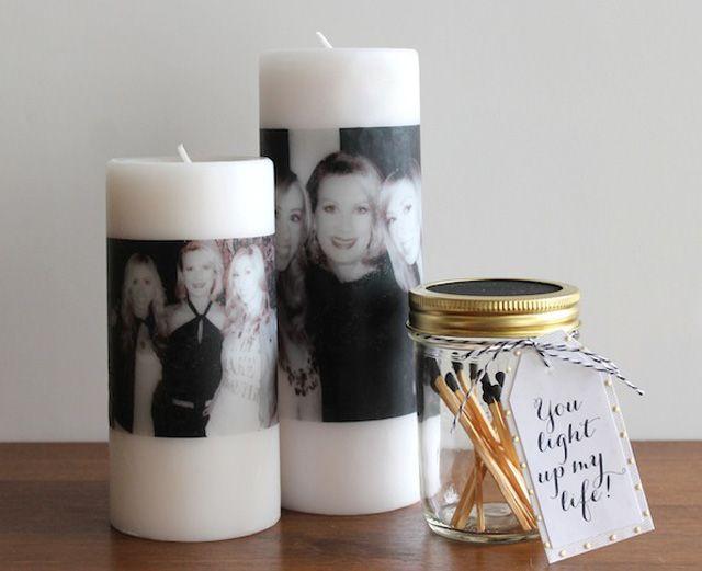 Свеча с нанесенной фотографией