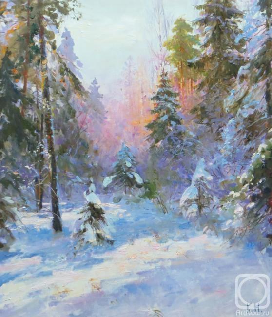 Картина маслом на холсте. Комаров Николай. Зимний лес