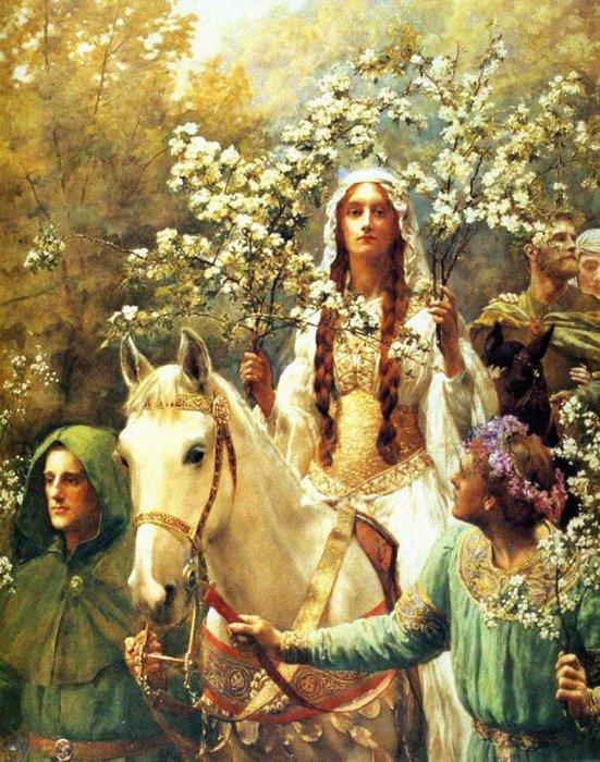 Королева Guinevre на празднование Первого мая, 1900 (551x700, 122Kb)