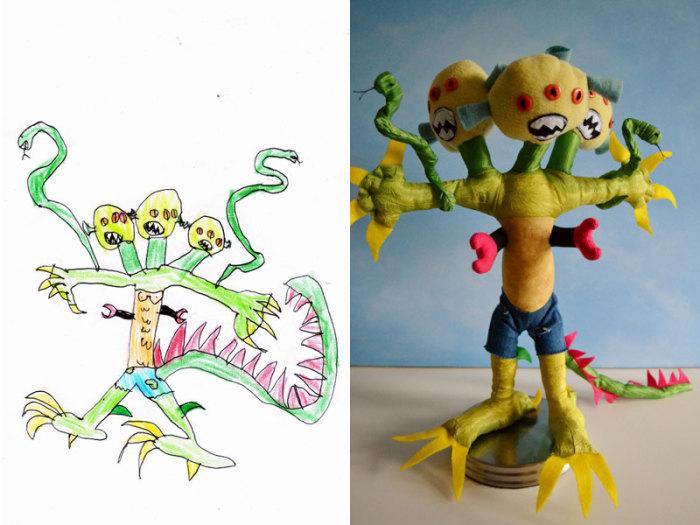 Забавные мягкие игрушки по детским рисункам.