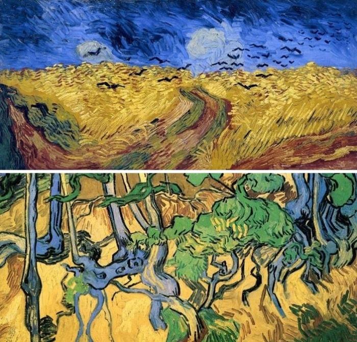 Ван Гог. Вверху – Пшеничное поле с воронами, 1890. Внизу – Корни и стволы, 1890 | Фото: vangogen.ru