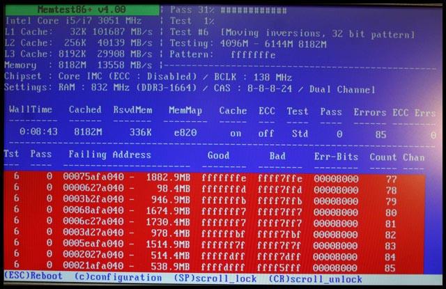 Уведомления Memtest86  о BAD-кластерах ОЗУ