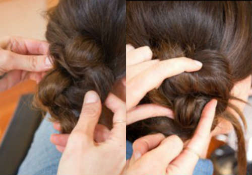 Пучок на основе узелков из волос