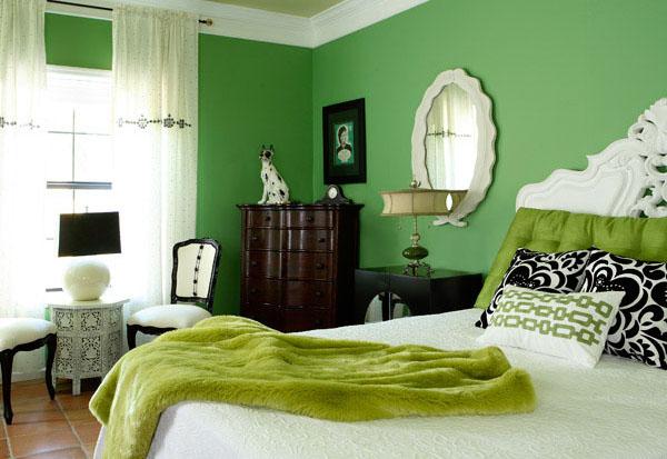 Зелёная спальня в викторианском стиле