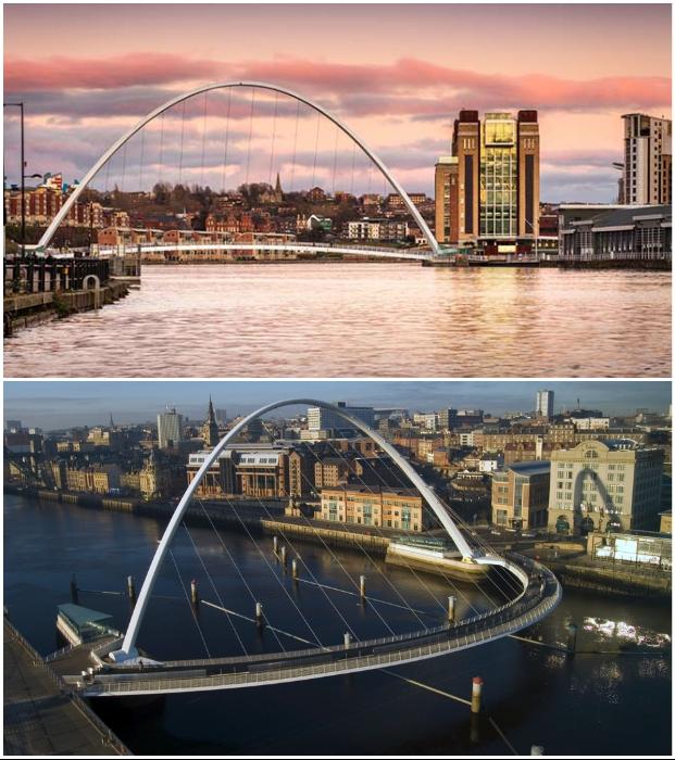 Инновационный дизайн пешеходного моста Gateshead Millennium завоевал бесчисленное количество наград с момента своего открытия в 2002 г.