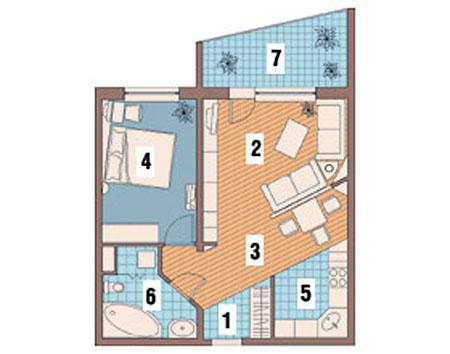 Однокомнатная квартира после перепланировки (двухкомнатная)