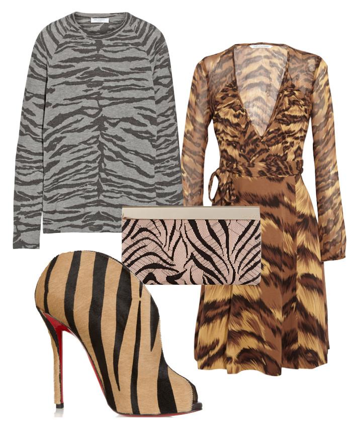Выбор ELLE: топ Equipment, платье Diane Von Furstenberg, клатч Jimmy Choo, ботильоны Christian Louboutin