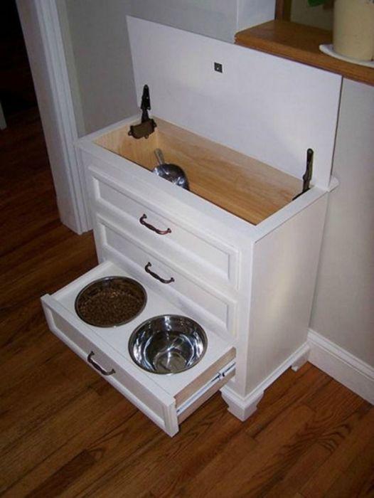Если питание питомца не слишком частое, то такое решение поможет добавить больше порядка в дом. /Фото: i.pinimg.com